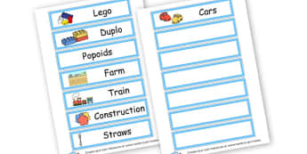Toys Drawer Labels - Drawer Peg Labels General Primary Resources, name, tag, label,