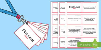 CfE First Level Writing Lanyard-Sized Benchmarks - writing, assessment benchmarks observation,Scottish