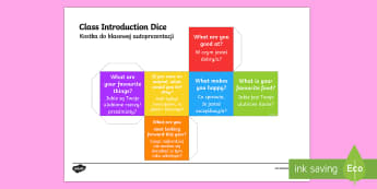 Class Introduction Questions Dice English/Polish - class introduction, questions dice, introduction, questions, dice, class introduction dice, class qu