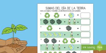 Ficha de actividad: Sumas - Día de la Tierra - sumar, sumas, suma, adición, añadir, día de la Tierra, la Tierra, ficha, operaciones, cálculos,,