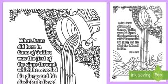 John 2 11 Mindfulness Colouring Page - Miracles of Jesus, Bible, Christian, New Testament, Water, Faith, Story, Memory, Verse, Memorization