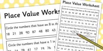 Place Value Activity Sheet 2 Digits - place value, worksheet, 2 digits