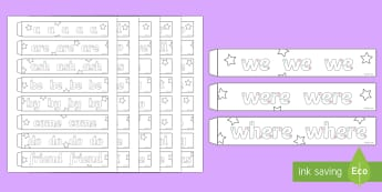 Handwriting Year 1 Common Exception Words Paper Chain Activity - common exception words, year 1, phonics