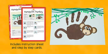 Handprint Monkey Craft Instructions - EYFS, KS1, craft, jungle, rainforest, Chinese New Year, animals