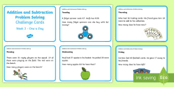 Addition and Subtraction Problem Solving (3) Challenge Cards - ROI, Numeracy, Problem Solving, Irish, euro