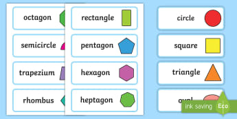 2D Shape Word Cards - 2D Shape names, Shape Flashcards, Shape Pictures, Shape Words, 2D flashcards, numeracy, geometry, shapes, 2d, flash cards