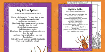 My Little Spider Finger Rhyme - halloween, rhyme, eyfs, early years, little spider, finger