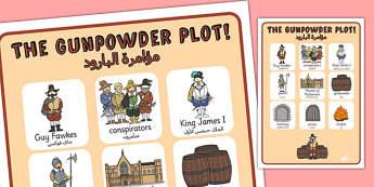 The Gunpowder Plot Vocabulary Poster Arabic Translation - arabic
