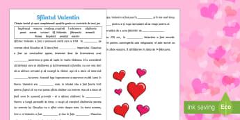 Sfântul Valentin - Fișă completează cuvintele lipsă - Sf Valentin, română, ziua indragostitilor, ziua îndrăgostiților, fișă de lectură, fisa de le