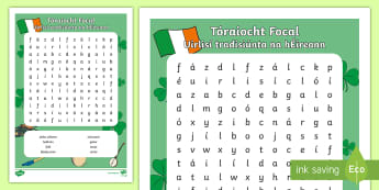 Cuardach Focal: Uirlisí Tradisiúnta na hÉireann - ROI - Irish Language Week Gaeilge Resources - 1st-17th March,Irish