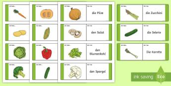 Gemüse Domino Karten - Gemüse, Essen, DAF, DAZ, Pflanzen,German