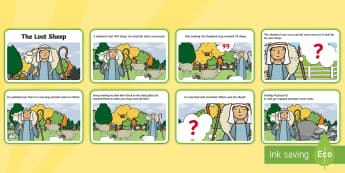The Lost Sheep Story Sequencing (4 per A4) - the Lost Sheep, sheep, shepherd, lost sheep, sequencing, story sequencing, story resources, A4, cards, 100, 99, search, searching, looking for, safe, carried home, bible story, bible, party, happy