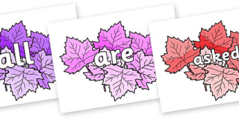 Tricky Words on Autumn Leaves (Multicolour) - Tricky words, DfES Letters and Sounds, Letters and sounds, display, words