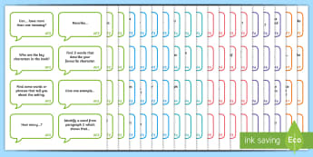 AF Guided Reading Question Cards - assessment focus, assessment focus reading, af reading, assessment focus cards, assessment focus questions, AF cards