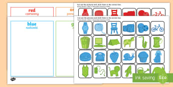 Colour Sorting Activity English/Polish - Colour Sorting Activity - colour, sorting, matching, game, puzzle, mathching,Polish-translation