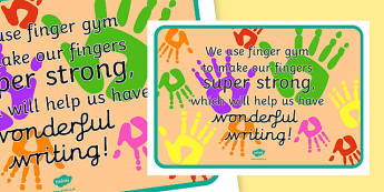 Finger Gym Display Poster - early years, ks1, key stage 1, pd, fine motor skills, exercise, information,