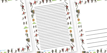 The Battle of Hastings Page Borders - The Battle of Hastings, English, Normans, battle, page border, border, writing template, writing aid, writing, Saxons, Harold, William, sword, archer, retreat, cavalry, arrow, eye
