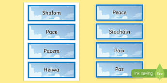 Peace in Different Languages Word Cards-Irish
