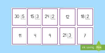 Tarjetas de emparejar: Divisiones con una cifra en el divisor y dos en el dividendo - dividir, división, repartir, cifras, divide, division, sharing, figures, digits, escrito, escrita,