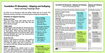 Foundation PE (Reception) - Skipping and Galloping Home Learning Challenge Sheet - EYFS, PE, Physical Development, Planning