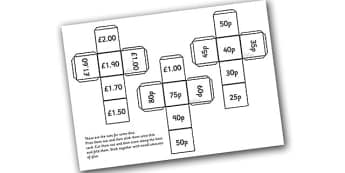 Money Dice Net - money dice, money cube, money cube net, cube net with different amounts of money, cube net, money square, maths, ks2 numeracy