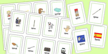 SP Blend Flash Cards - sp, blend, sound, sen, flash cards, flashcards