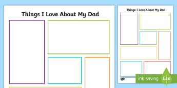 CfE Things I Love About my Dad Activity Sheet-Scottish - Father\'s Day,Dad,Father\'s Day gift,writing about my dad, worksheet