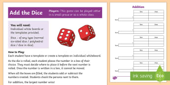 Add the Dice Game  - Maths Warm-up, games,stage 4,stage 5,stage 6,stage 7,dice games,whole class, maths,addition,subtract