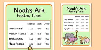 Noah's Ark Role Play Animal Feeding Times - Noah's ark, role play