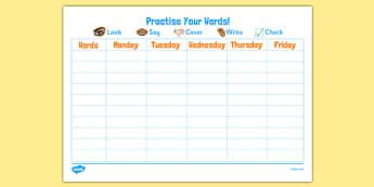 Spelling Practice Charts - spelling practice, spelling charts, practice charts, spelling chart, spelling practice chart, practise spelling, practice, practise, days of the week, week, days, weekdays