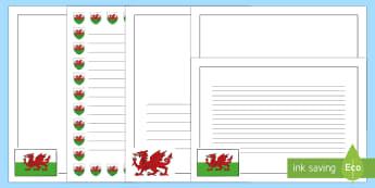 Taflenni gyda Borderi Baner Cymru Pecyn - Pecyn Adnoddau Dewi Sant,Welsh