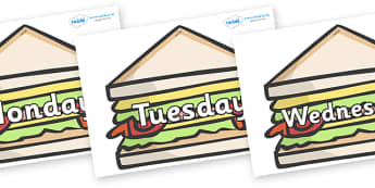 Days of the Week on Sandwiches to Support Teaching on The Lighthouse Keeper's Lunch - Days of the Week, Weeks poster, week, display, poster, frieze, Days, Day, Monday, Tuesday, Wednesday, Thursday, Friday, Saturday, Sunday