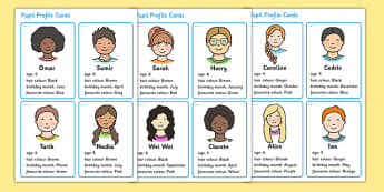 Made Up Pupil Profile Cards for Graphs and Data Collection - pupil profile, profile cards, graphs, data, data collection, numeracy, numbers, maths, cards