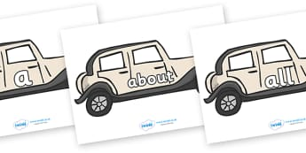 100 High Frequency Words on Wedding Cars - High frequency words, hfw, DfES Letters and Sounds, Letters and Sounds, display words