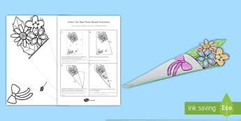 Father's Day Paper Flower Bouquet Coloring Activity US English/Spanish (Latin) - Father\'s Day Paper Flower Bouquet Coloring Activity - bouquet, Fathers day, paper, colering, colo
