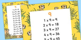 9 Times Table Display Poster - displays, posters, visual, aids, times table, times tables