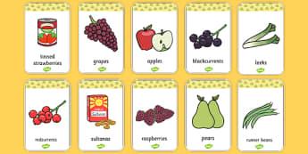 Harvest Produce Flash Cards - harvest, flash cards, cards, autumn