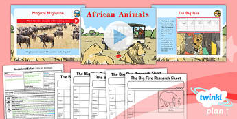 PlanIt - Geography Year 2 - Sensational Safari Lesson 4: African Animals Lesson Pack - planit, geography, safari, year 2