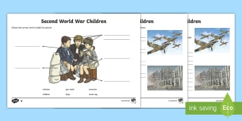 Second World War Children Activity Sheet - World Around Us KS2 - Northern Ireland, Second World War, evacuee, war, gas mask, key words, sentenc
