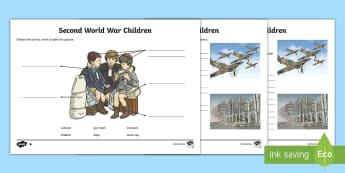 Second World War Children Activity Sheet - World Around Us KS2 - Northern Ireland, Second World War, evacuee, war, gas mask, key words, sentenc