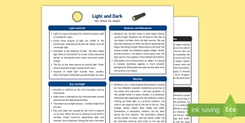 Light and Dark Fact Sheet for Adults - EYFS, Early Years, KS1, Science, Understanding the World, exploration, discovery, finding out, exploration, facts, information, light, dark, day, night, shadows, sun, silhouettes, rainbows