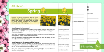 Spring Reading Differentiated Comprehension Activity Sheet Pack English/Romanian - KS1, reading, comprehension, spring, questions, answers, fact file,comprehesion,comprehnsion,compreh
