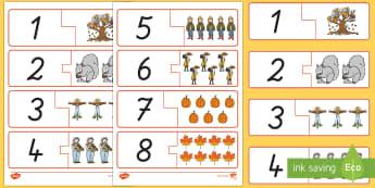 Herbst: Zahlen und Bilder 1 bis 10 Memory Karten - Herbst, Zahlen 1 bis 10, Zahlen erkennen, Memory