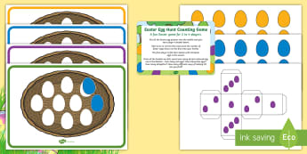 Easter Egg Hunt Counting Game - EYFS, Early Years, KS1, Easter, Easter eggs, Maths, Numeracy, numbers to 10, making 10, number bonds