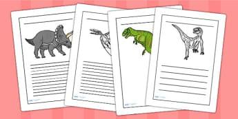 Realistic Dinosaurs Writing Frames - dinosaur, writing frames