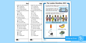 KS1 London Marathon Differentiated Comprehension Go Respond Activity Sheets - KS1 Comprehensions, Answer and ask questions, london marathon, running, race, exercise, health,
