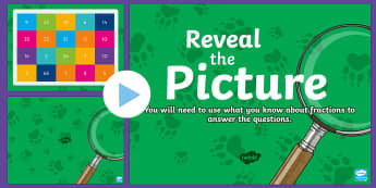 Fractions Reveal the Picture Plenary Activity - CfE Numeracy and Mathematics, number, number processes, revision, recap, ICT, interactive, fractions