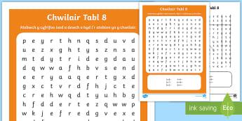 Taflen Chwilair Lluosi Tabl 8  - Lluosi, lluosi, dablau lluosi, tabl lluosi,  gof dablau lluosi, rhifedd, Rhifedd.,Welsh