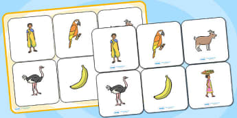 Handa's Surprise Matching Cards and Board - handas surprise, handa's surprise, handas surprise picture matching game, handas surprise matching activity