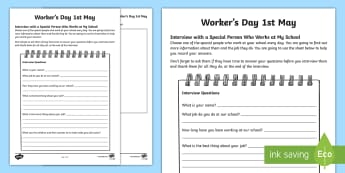 South Africa Worker's Day 1st May Interview Activity Sheet - South Africa Worker's Day 1st May, school workers, interview, jobs, appreciation,worksheet, workshe